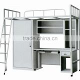 Military metal pull down bunk bed with desk and storage locker