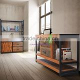 Buffet Industrial Style For Living Room with Reclaimed and rustic wood Combination with Black Metal