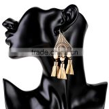 Vintage ethnic alloy plated tassel pendant drop earrings for women