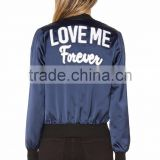 OEM Latest Lettering LOVE ME Back Embroidered Patch Bomber Jacket Customize 100% Polyester /Satin Jacket For Women