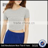 MGOO Custom Made Fashion-forward Cup Detail Short Sleeve Tank Tops Plain Fitness Stretch Cotton Crop Top