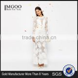 MGOO Lace 3D Floral Fishtail Maxi Dress Crew Neck Long Sleeves Embroidered Wedding Dress Bridal Grown