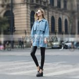 Demin coat jacket for women fashion design for ladies women's washed jean jacket for young ladies