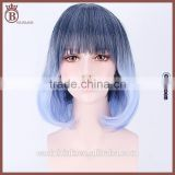 Cosplay Harajuku Girls Black and Blue Gradient Color Curly Bobo Wigs