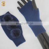 Wholesale Best Price Winter Women's Knitted Gloves with Fur Ball Detail
