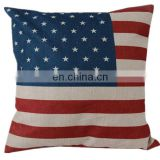 Fashion Low MOQ american national flag linen pillow cover wholesale digital printing car seat cushion cover
