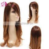 Hot Selling Omber Color Two Tone Natural Wave 100% Human Hair Virgin Brazilian Lace front Wig With Bangs