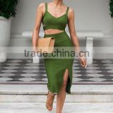 Summer dress 2015 new elegant and sey women army green strap two piece set split evening party bandage Dress Bandage Bodycon Wom