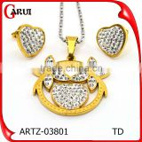 High Quality Women European Fashion Jewelry Set Chain Crystal Pendant Necklace & Charm Heart Earrings