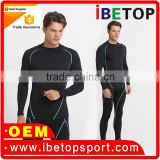 Color matching 90% polyester 10% spandex custom fitness mens slim active compression wear