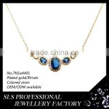 Wholesale unique necklace jewelry silver gold plating pendant necklace with blue stone for ladies