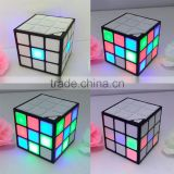 2016 New Magic Cube Portable LED RGB Light Deep Bass Bluetooth Wireless Speakers with Build in Mic Hands-free Function TF