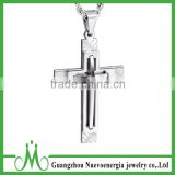 Fashion Unisex Men Silver Stainless Steel Cross Pendant Necklace Chain Hot
