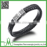 Custom High Fashion Exquisite Stainless Steel Clasp Mens Jewelry Leather Braided Bracelet