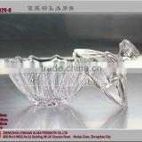 clear glass sweet candy jar/Decorative round crystal glass plate with lid /wholesale glass jar