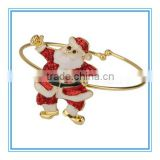 Vnistar high quality wholesale Christmas jewelry gold plated Santa Claus cuff wire adjustable bangles for women VB001