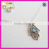 High quality silver hamsa necklace with turquoise stone, fashion silver hand necklace