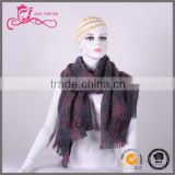 wholesale customize plaid tarten woven label knitted acrylic scarf