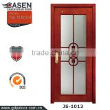 Top fashion new design decorative glass inserts tempered glass door wood framed glass door for bathroom