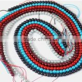 "5 Strands Beautiful Mix Multi Color Glass Pearl Smooth 4.5mm Rondelle Beads,Acrylic Pearl beads,Pearlized Beads,16"" Long"