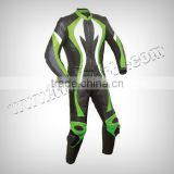 Motorbike Green & Black Real Leather Suit Motorcycle Clothing Leather Racing Suit