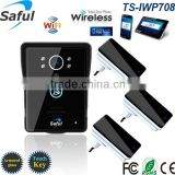 2MP wifi/ip touch key rainproof video interphone TS-IWP708 with 3 indoor ding-dong doorbell
