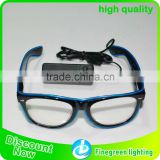 sound sensor Light up EL Wire Framed Glasses (Black frames with Clear lenses) for Parties
