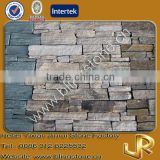 Yellow sandstone stack natural stone fireplace decoration