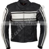 Mens 100% Genuine Top Grain Cowhide Leather Jacket, Black Color Motorcycle Jacket with CE Protections For Bike Racing