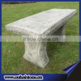 Carved White Outdoor Marble Stone Seating Bench With Full Edge
