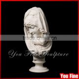 Hand Carved White Marble Garden Lady Bust Sculpture