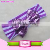 Wholesale Fashion Headwear Lavender Stripe Sequin Knot Bow Cotton knot headband baby large blingbling bow kids turban headbands