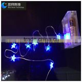 2016 decoration led copper wire silver wire star light string 3AA batteris operated PVC box packaging