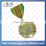 die casting zinc alloy gold customized medal with ribbon