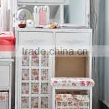 Manufacture modern home furniture outlet Korean country style bedroom furniture folding dresser table with mirror and stool