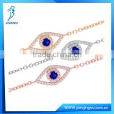 Fashion Jewelry Evil Eye Gold Blue Sapphire 925 Silver Bracelet