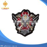 Top design popular custom embroidery skull with wing