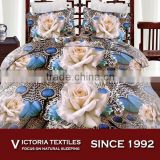 luxury white rose pattern 3D reactive printed super soft 120gsm bed in bag quilt cover sets
