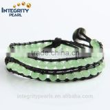6mm light green fashion opal stone beads hot sales handsome boys woven leather bracelet