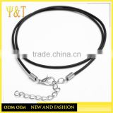 2.0mm Black Leather Necklace Cord With Extension Chain Corde Diy Jewelry Accessories For Necklaces (AC-008)