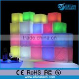 outdoor rgb led light cube table and seat, bar furniture 3D led cube shelf