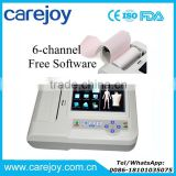 Carejoy PC Analysis Software 7 inch Touch Screen 6 Channel Digital Resting Electrocardiograph ECG Machine EKG-923S