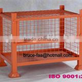 stackable wire storage cage with half drop front gate