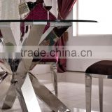 TH383 Stainless Steel Glass Top Fancy Console Table For Dinner