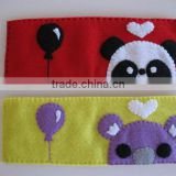 Low price polyester ticket sleeve id card purse cotton fabric custom wallet wholesale with sewing panda balloon for teenager