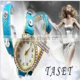 2014 New Arrival Fashion Leather Wrap Bracelet Watch With Crystal Rhinestone Cross