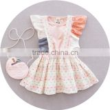 High quality baby girl baby clothes set fly sleeve tee shirt and overalls skirt two piece