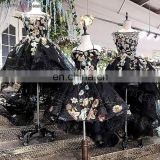 LS00134 elegant luxury black girls sexy night dress photos little black girl child dress