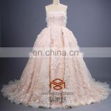 Hot SHMY-W0054 Guipure lace Appliqued Handmade Flowers Strapless Pink Puffy Princess Ball Gown Wedding Dress