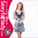 2017 wholesale Zebra print slick strappy sexy lingerie babydoll with thong